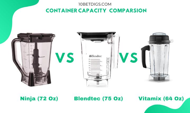 Ninja vs blendtec vs vitamix container capacity